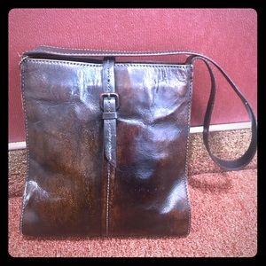 Genuine dark leather hand dyed FOSSIL brand
